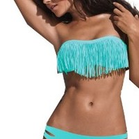 Hot New Cute Sexy Women's Tassel Padded Bandeau Fringe Bikini 2pcs Set Swimwear Swimsuit Bathing Suit (S, light blue)