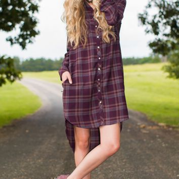 Fringe My Prerogative Purple Plaid Shirt Dress