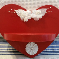 Up-cycled Shabby Chic Hand Painted Red Heart Shelf with White Accents