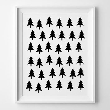 Tree Scandinavian pattern poster print, print art, home wall decor, mottos, minimal, pattern design, giclee art, inspirational, decoration
