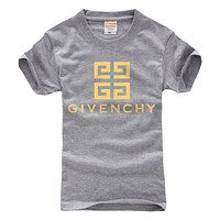Givenchy Tide brand solid color simple round neck half sleeve T-shirt Grey