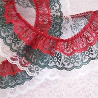 Gathered Triple Ruffled Lace Trim, Red Hunter Green and White, 3 Tier