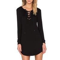 David Lerner Lace Up Long Sleeve Dress in Classic Black