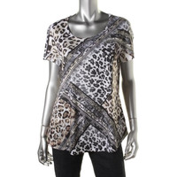 Style & Co. Womens Animal Print Short Sleeves Pullover Top