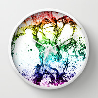 Rainbow Water play Wall Clock by Karl Wilson Photography
