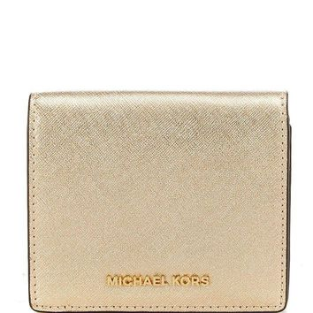 NWT MICHAEL KORS Ava Pale Gold Saffiano Leather Carryall Card Case Small Wallet