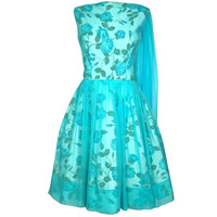 VINTAGE 1950s FLORAL CHIFFON OVERLAY DRESS w SHOULDER SASH