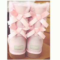 UGG:: bow leather boots boots in tubeb cute two bowknot Fresh Pink