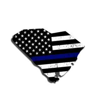 South Carolina Island Distressed Subdued US Flag Thin Blue Line/Thin Red Line/Thin Green Line Sticker. Support Police/Firefighters/Military