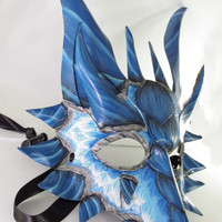 Beautiful White and Blue Ice Dragon Leather Mask