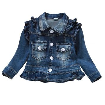Chumhey1-4T Baby Girls Clothes Jeans Coat Babe Girls Jeans Jacket Denim Outerwear Children's Clothing Spring Autumn Kids Outfits