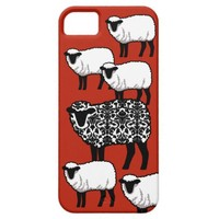 Black Damask Sheep on Red iPhone 5 Cases
