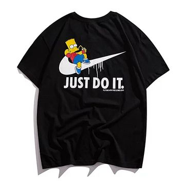 NIKE Just Do IT Fashion New Summer Letter Hook Anime Print Women Men Top T-Shirt Black