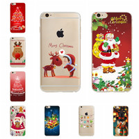 2017 New Year Santa Claus Christmas tree Dree Phone Case For iPhone 6 6S Cover Cute Clear Soft TPU Capa For iPhone 6S Phone Case