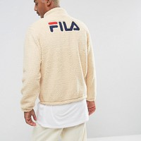 Fila Black Sherpa Jacket With Retro Back Logo at asos.com