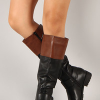 Vivienne-06 Two Tone Harness Riding Knee High Boot