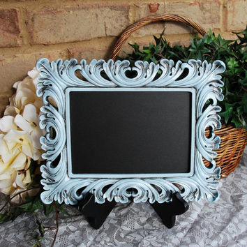 Ornate wedding chalkboard: Pale vintage baby blue decorative hand-painted framed 5x7 tabletop message board sign