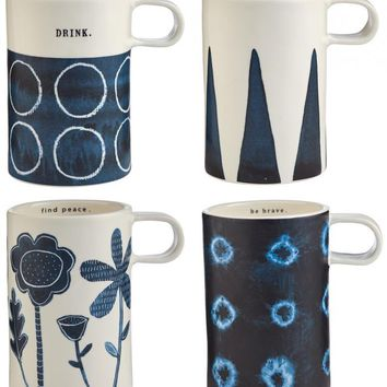 Rae Dunn Indigo Dreams Tall Mugs, Set of 4