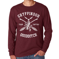 Gryffindor Quidditch team Captain White print on Longsleeve MEN tee