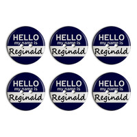 Reginald Hello My Name Is Plastic Resin Button Set of 6