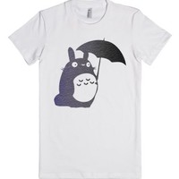 Totoro with Umbrella Distressed Print-Female White T-Shirt