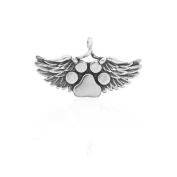 Sterling Silver Heaven's Paws Dog Paw Print With Angel Wings Memorial Pendant