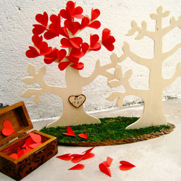 Personalized wedding guest book alternative - 3D Wedding Tree guest book Alternative - Rustic wedding -100 hearts