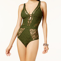 Becca Crochet Deep-V One-Piece Swimsuit | macys.com