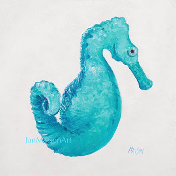 Seahorse painting, coastal decor, beach bathroom decor, wall art, beach cottage decor, beach style, coastal cottage decor, beach house decor