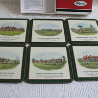 Vintage Pimpernel Coasters Set of Six Famous British Golf Clubs Square Coasters