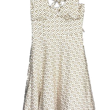 Trina Turk Los Angeles Halter Dress Brown Tan Floral Geometric Lace Trim Women 8 - Preowned