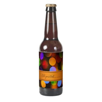 Multicolored Christmas lights. Add text or name. Beer Bottle Label