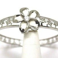 STERLING SILVER 925 HAWAIIAN PLUMERIA FLOWER HONU TURTLE BANGLE RHODIUM 7""