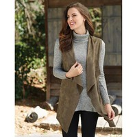 Isabelle Suede Vest in Hunter Green by Mud Pie
