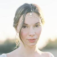 "Bohemian style wedding gold chain head piece with crystals ""Wren"""