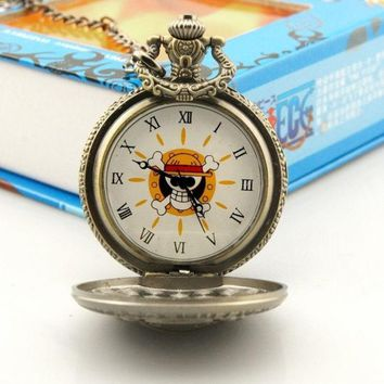 DCCKIX3 Steampunk Anime One Piece Cosplay Skull & Crossbones Pocket Watch Pendant Necklace
