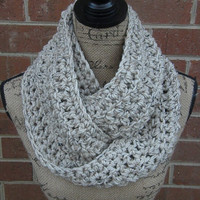 Ready To Ship Oatmeal Black Brown Tan Handmade Crochet Infinity Scarf Cowl