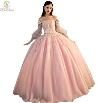 Romantic Flower Fairy Prom Dress Banquet Luxury Long Sleeves A-line Organza Party Formal Dresses