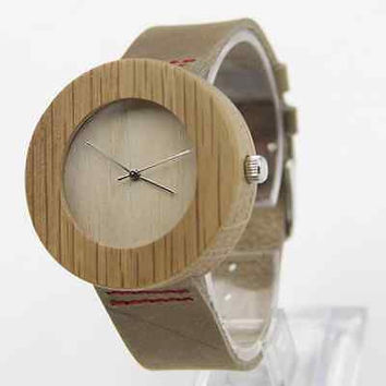 New Design Bamboo Wooden Watches with Genuine Leather Strap Best Gifts Watches