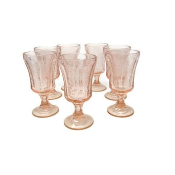 Madrid Goblets Pink Recollection Pattern - Indiana Glass Pedestal Pink Stemware - Toasting Glasses - Wedding Decor Cottage chic Etched Stems