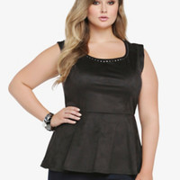 Studded Faux Suede Peplum Top