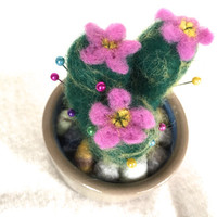 Cactus art home decor kitchen decor cactus decor cactus ornament pincushion cacti needle felted cactus succulent desert green pink fiber art