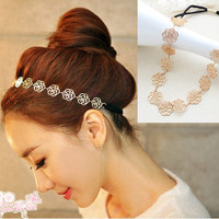 Fashion New Lovely Metallic Lady Hollow Rose Flower Elastic Hair Band Headband