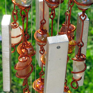 Moonstone (June Birthstone) Windchime with Recycled Aluminum and Copper Wrapped  Apricot and Clear Glass Marble Prisms, Outdoor Decor