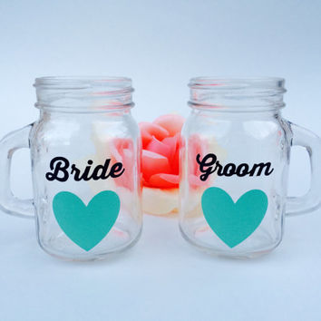 Bride & Groom // Mason Jar Shot Glasses