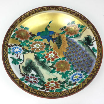 Large Peacock Plate Decorative Chinese Vintage Painted Chinese Peacock Bowl Gold Blue Red Green & Best Decorative Blue Plates Products on Wanelo