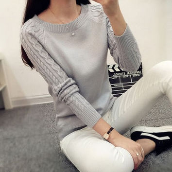 Women Long Sleeve Gray Casual Cashmere Sweaters
