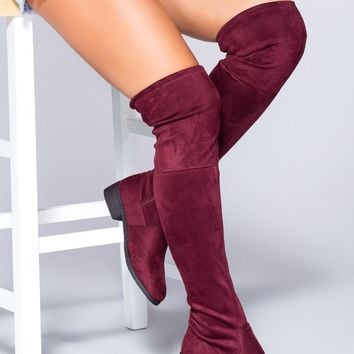 Mandy Over The Knee Boots - Wine