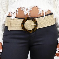 Starting Out Beige Belt with Tortoise Circle Buckle