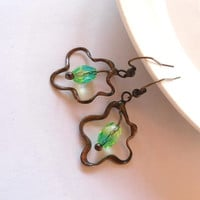 Copper wire earrings beaded green jewelry funky peacock contemporary Amoeba